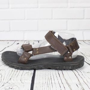 Teva Brown Leather Velcro Strap Sandals Size 10